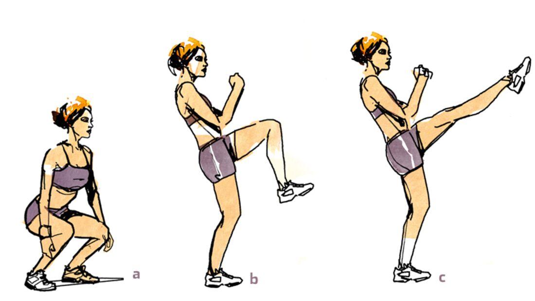 1. Kniebeugen mit Kick