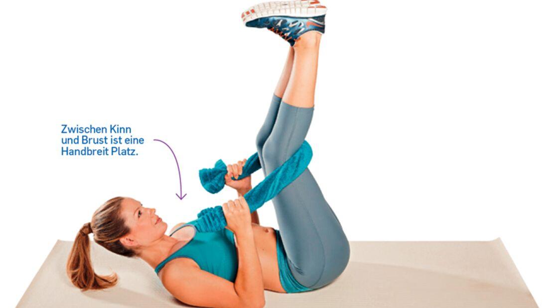 4. Kraftübung zum Sixpack: Angehobene Crunches