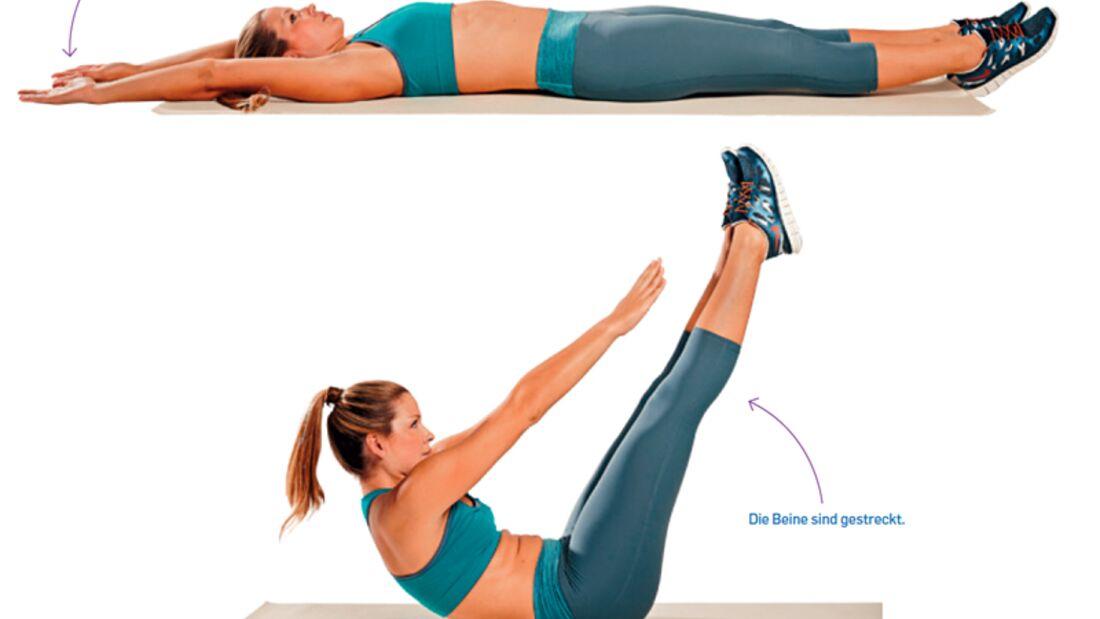 6. Kraftübung zum Sixpack: Sit-ups mit angehobenen Beinen