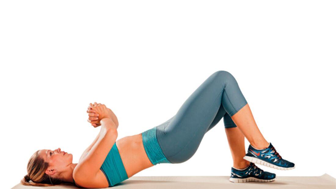 7. Kraftübung zum Sixpack: Laufendes Beckenheben
