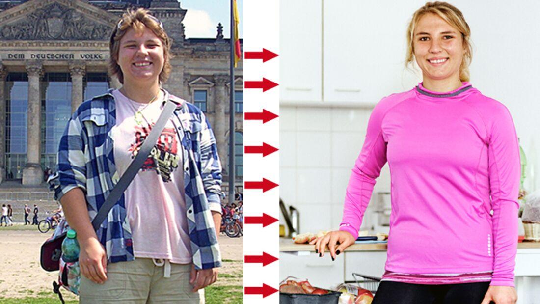 Anna hat 26 Kilo abgenommen: vorher wog sie 87 Kilo und nachher 61 Kilo