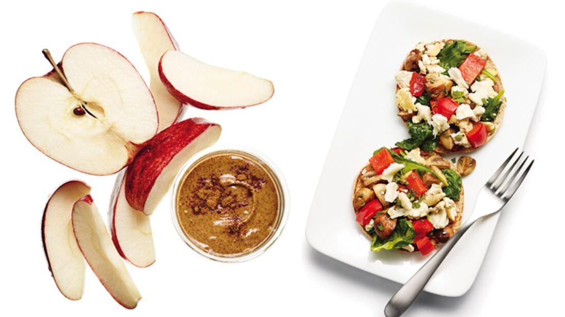 Apfelspalten mit Mandeldip und Tofu -osties helfen beim Abnehmen