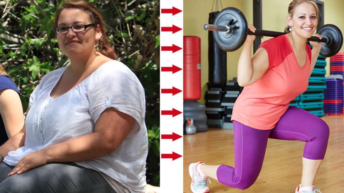 Aylin hatte Erfolg beim Abnehmen: vorher wog sie 125 Kio, nachher 65