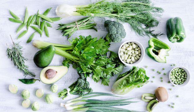 Chlorophyllhaltiges Obst und Gemüse