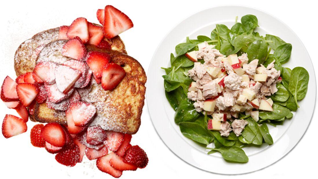 Erdbeer-Toast und Thunfischsalat