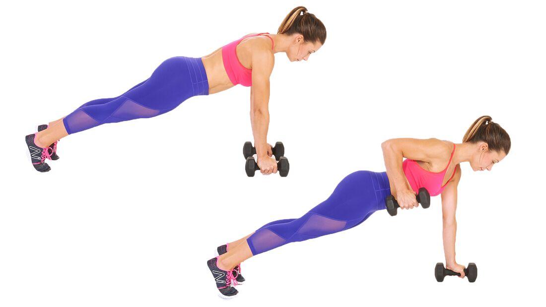 Fit in 15 Minuten: Oberkörper trainieren durch Ruder aus dem Stütz