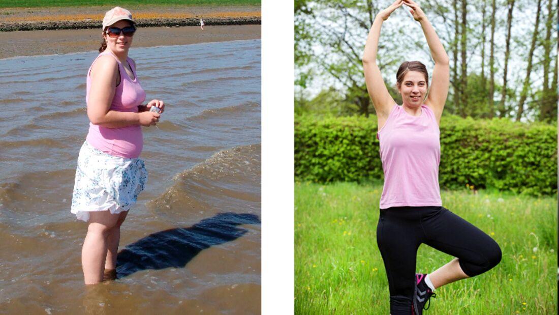 Jessica hat 25 Kilo abgenommen: vorher wog sie 98 Kilo und nachher 73 Kilo