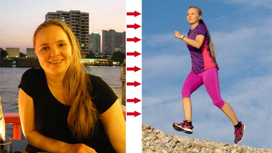 Jessica wog voher 64 Kilo und nach dem Abnehmen 52 Kilo