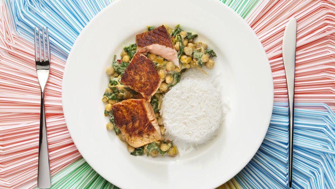 Kichererbsen-Curry mit Lachs