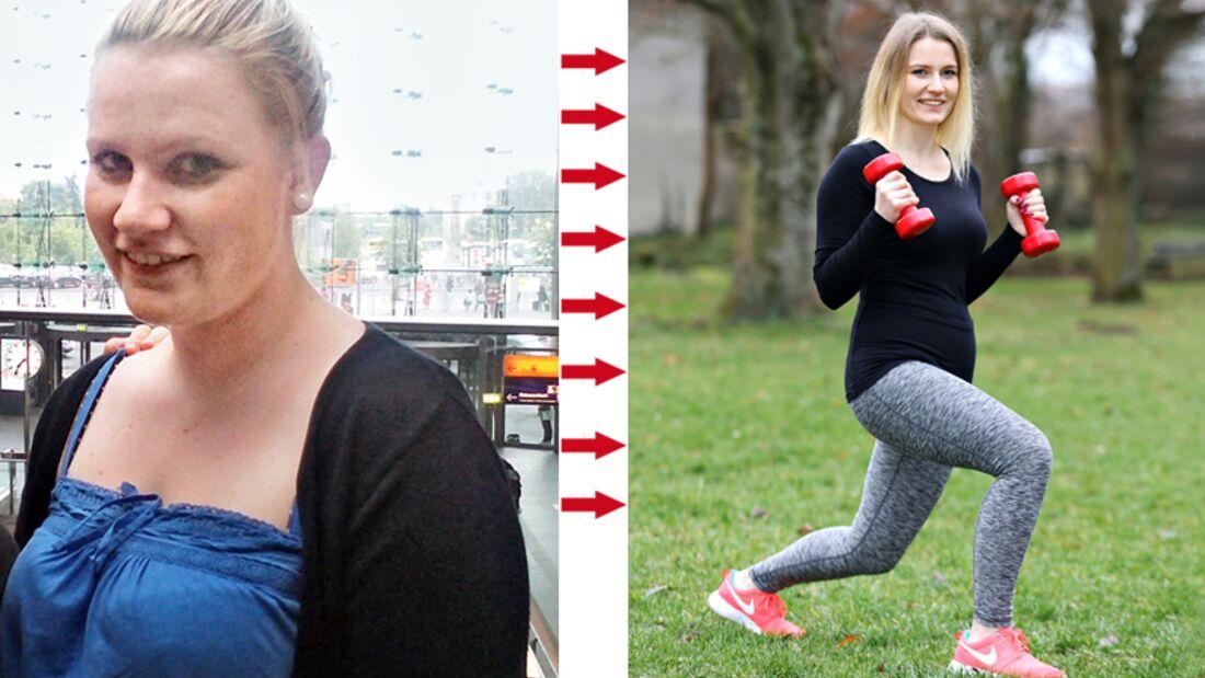 Michelle hat 19 Kilo abgenommen, vorher wog sie 76 und nachher 57 Kilo