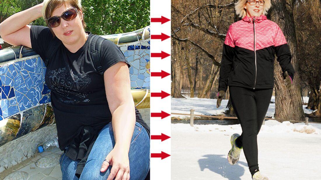 Sabine hat abgenommen: vorher wog sie 95 und hinterher 62 Kilo