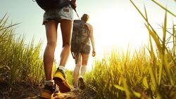Spaziergang über eine Wiese mit hohem Gras