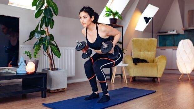 Training mit Kurzhanteln im Home Gym