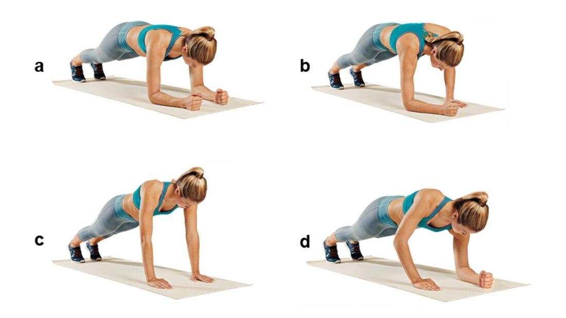 Trainingsplan flacher Bauch: Armsteigen