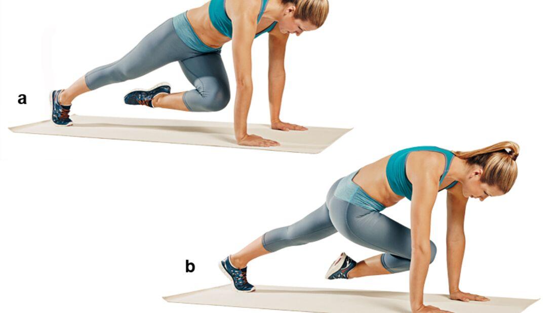 Trainingsplan flacher Bauch: Brett mit diagonalem Beinzug