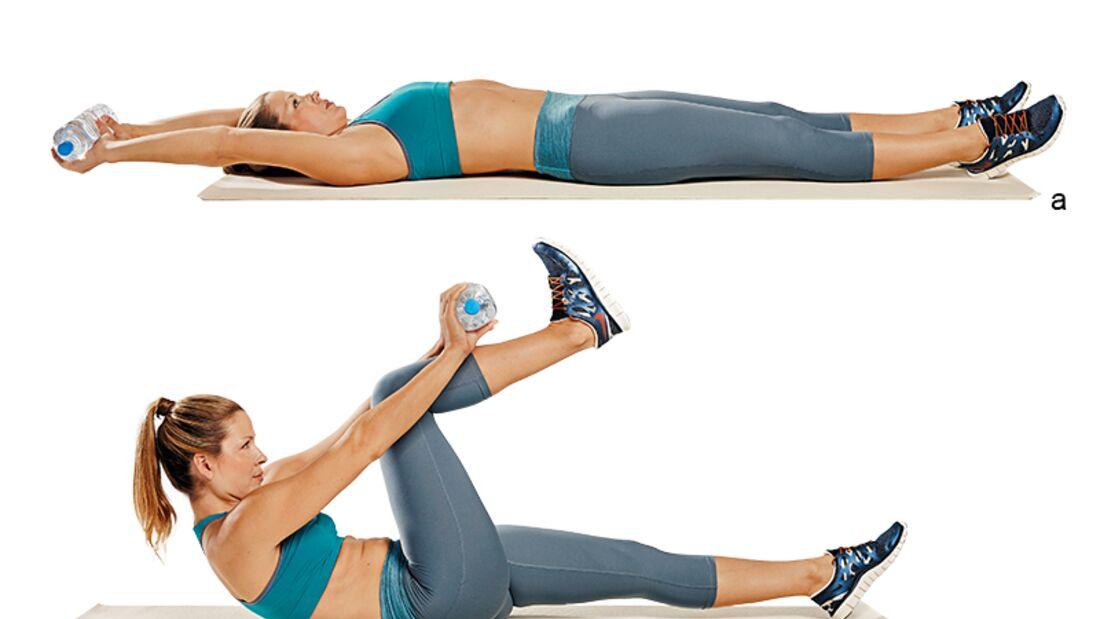 Trainingsplan flacher Bauch: Crunches mit angezogenen Beinen
