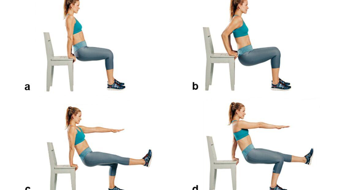 Trainingsplan flacher Bauch: Dips am Stuhl