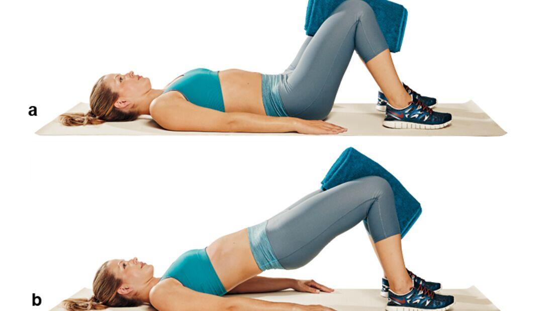Trainingsplan flacher Bauch: Hüftheben mit Handtuch