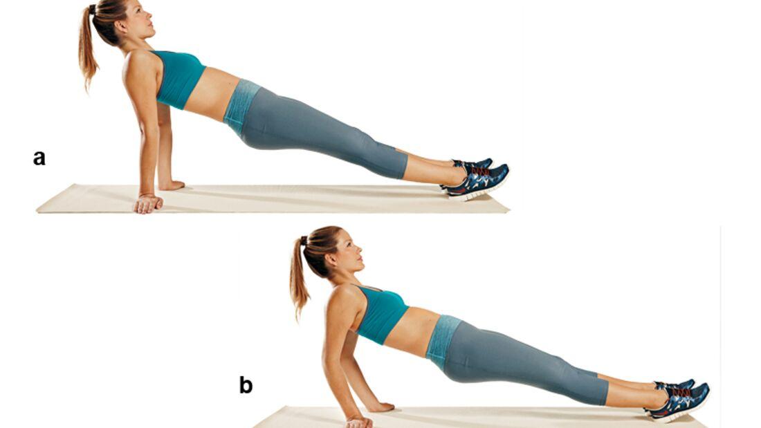 Trainingsplan flacher Bauch: Liegestütze in Rückenlage
