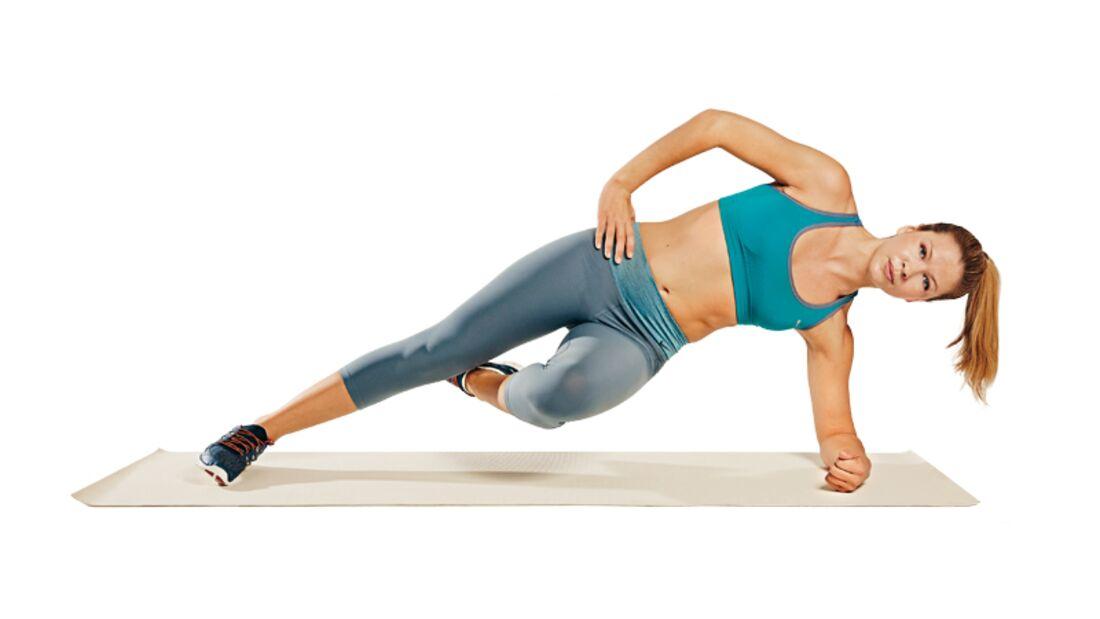 Trainingsplan flacher Bauch: Seitstütz mit Knieanziehen