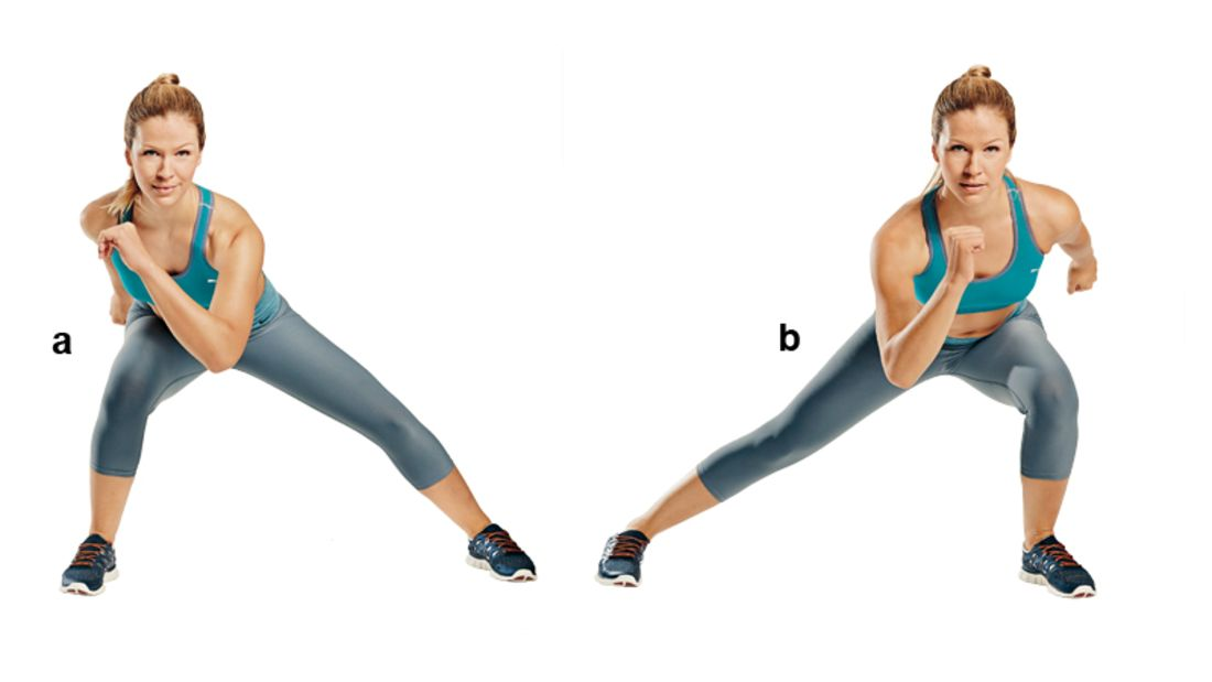 Trainingsplan flacher Bauch: Skater-Sprünge