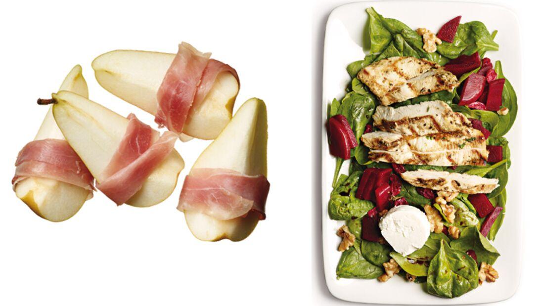 Vitaminreicher Abnehmtag mit Birne, Rote Beete und Huhn