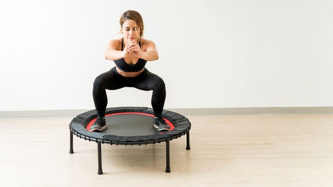 Women,Group,On,Sport,Trampoline,,Fitness,Workout