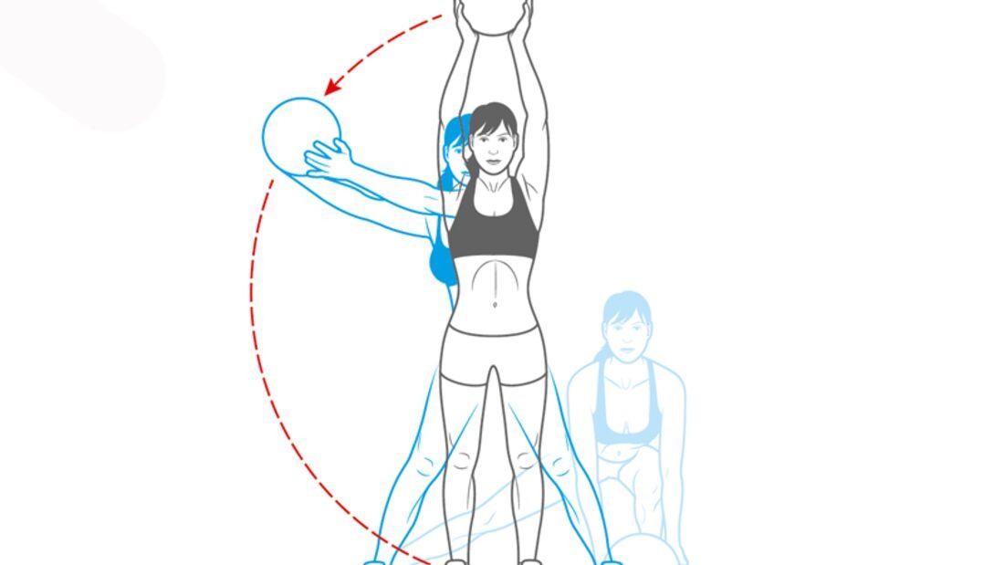 Workout Nr. 2: Seitlicher Ausfallschritt mit Ballschwung