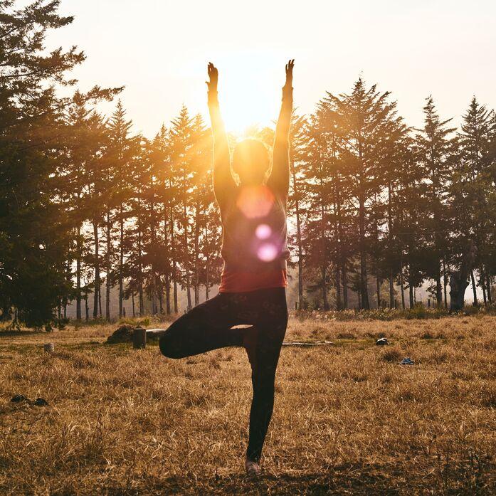 Yoga-Position im Freien