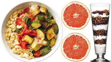 Zum Vollkorntag gehören Nudeln mit Zuccini, Grapefruit und Knusper-Jogurt