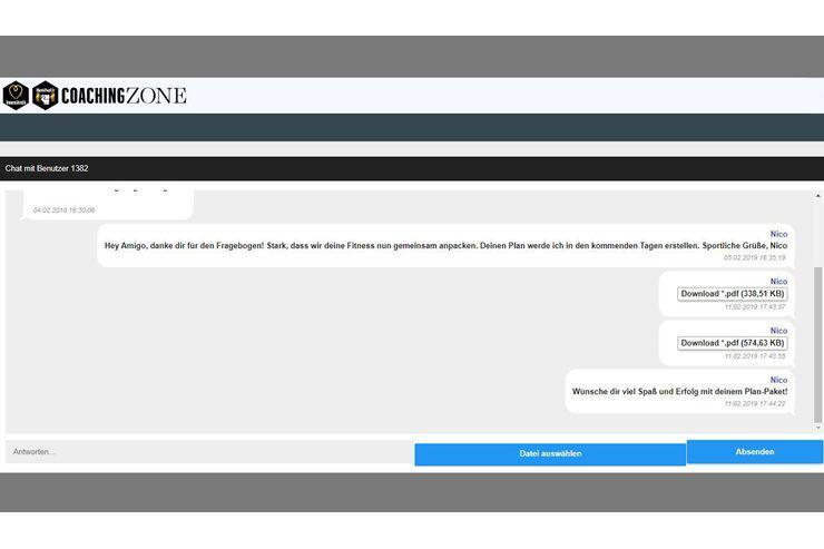 Im geschlossenen Chat bekommst du Antworten auf deine Fragen sowie deine fertigen Pläne zum Download